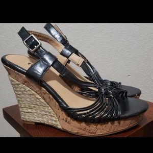 Diba Black Strappy Wedge Heel